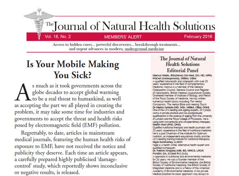 Is Your Mobile Making You Sick? Journal of Natural Health Solutions Feb 2016