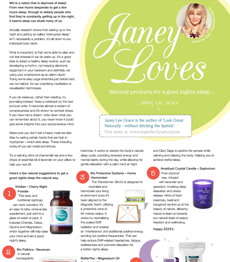 Natural Products for a Good Night's Sleep, Thrive Magazine Autumn 2016